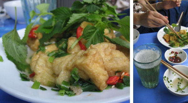 Beer (bia hoi) and Snacks (fried tofu with peppers, scallions and fresh greens)