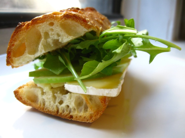 brie and apple on baguette